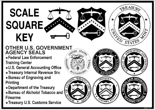US Seal, Scale, Square, Key on shield