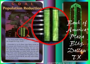 Illuminati Population Reduction Card and Bank of America Plaza Building in Dallas Similarity