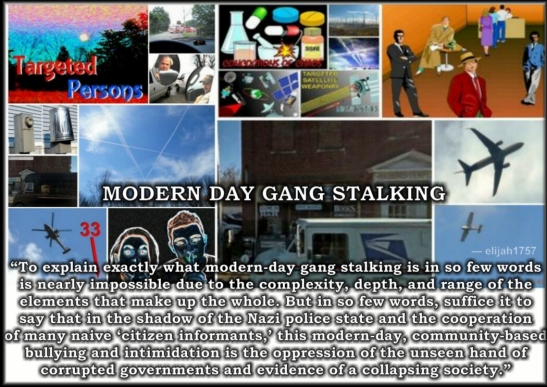 "Modern-day Stalking ""To explain exactly what modern-day gang stalking is in so few words is nearly impossible due to the complexity, depth, and range of the elements that make up the whole. But in so few words, suffice it to say that in the shadow of the Nazi police state and the cooperation of many naive 'citizen informants,' this modern-day, community-based bullying and intimidation is the oppression of the unseen hand of corrupted governments and evidence of a collapsing society."" — elijah1757"