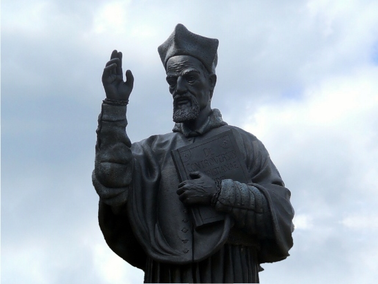 Cardinal Robert Bellarmine Stature on Campus