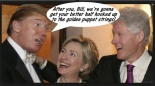 Trump-Clintons Puppets and Puppeteer