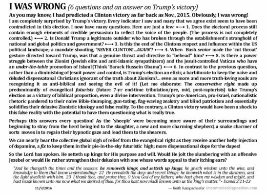 I was wrong - Trump wins (11/9/2016)